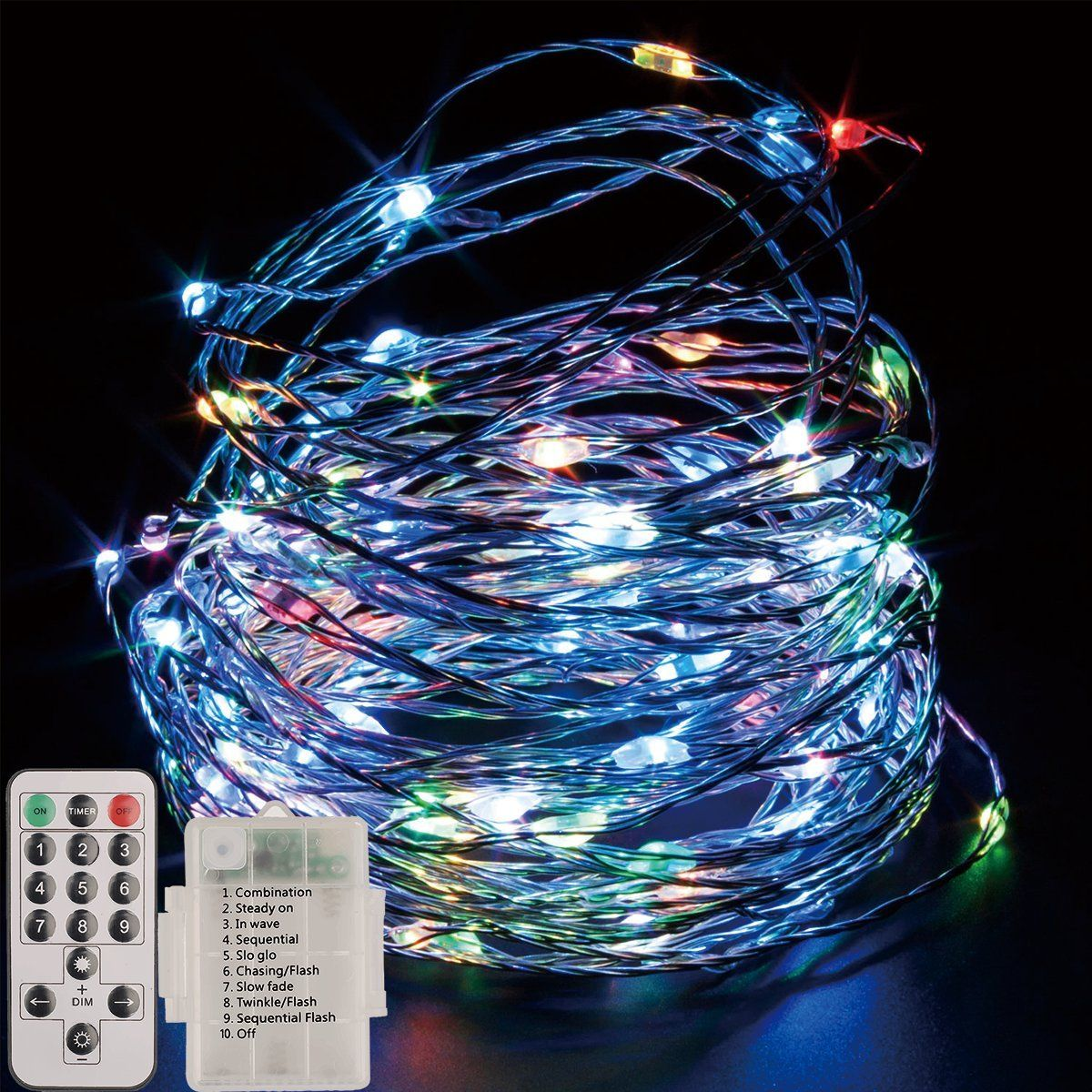 LED String Lights Fairy Lights Battery Powered with Remote Control ...