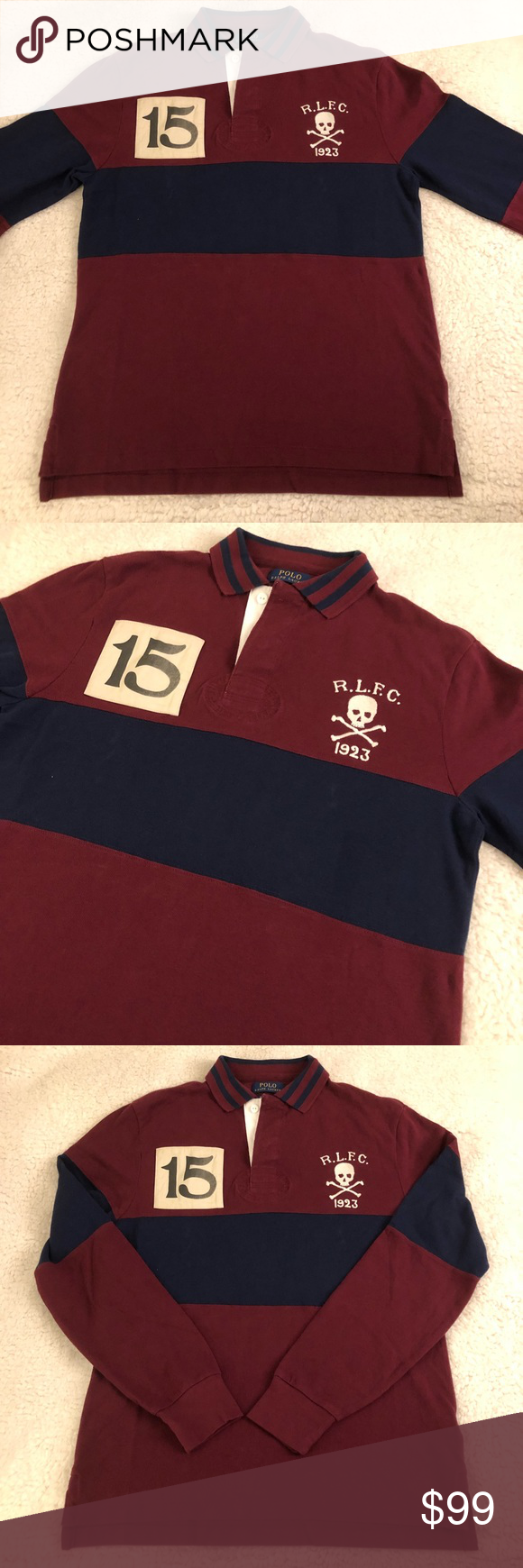 b8d14cdbe1bc Navy Blue · POLO RALPH LAUREN Mens Skull  amp  Bones Rugby Shirt POLO RALPH  LAUREN Long Sleeve Shirt