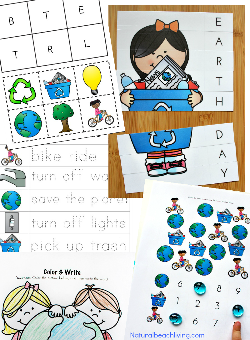 Earth Day Activities For Preschool Kindergarten Free Printables Natural Beach Living Earth Day Activities Recycling Activities Preschool Activities