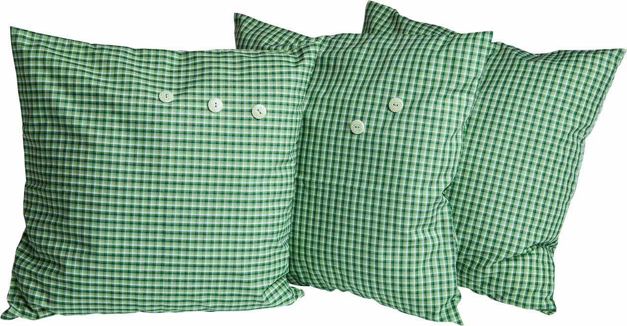 Kissen 3er Set Grün/weiß Mit Knöpfen