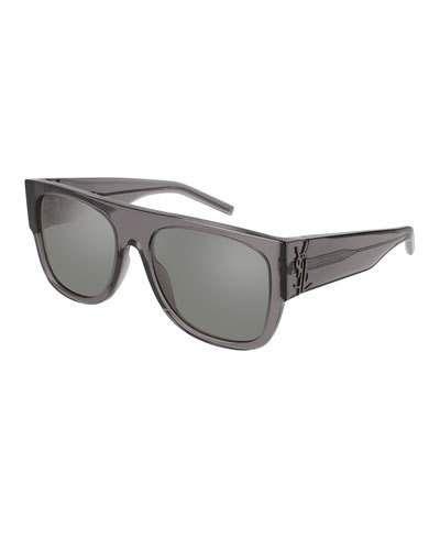 3599b1887992 Saint Laurent Translucent Acetate Flat-Top Sunglasses