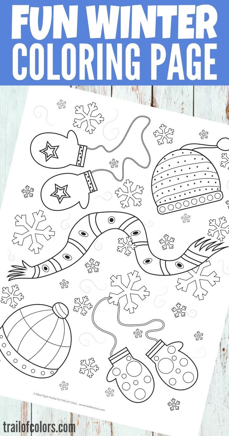 Free Printable Winter Coloring Page for Kids | Pinterest | Laminas ...