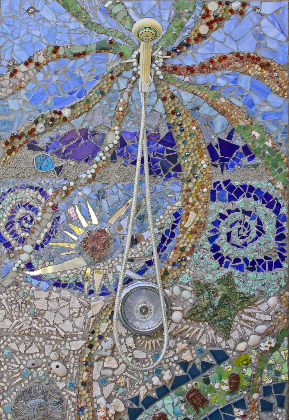 My DIY Outdoor Mosaic Shower Laguna Dirt Mosaic wall