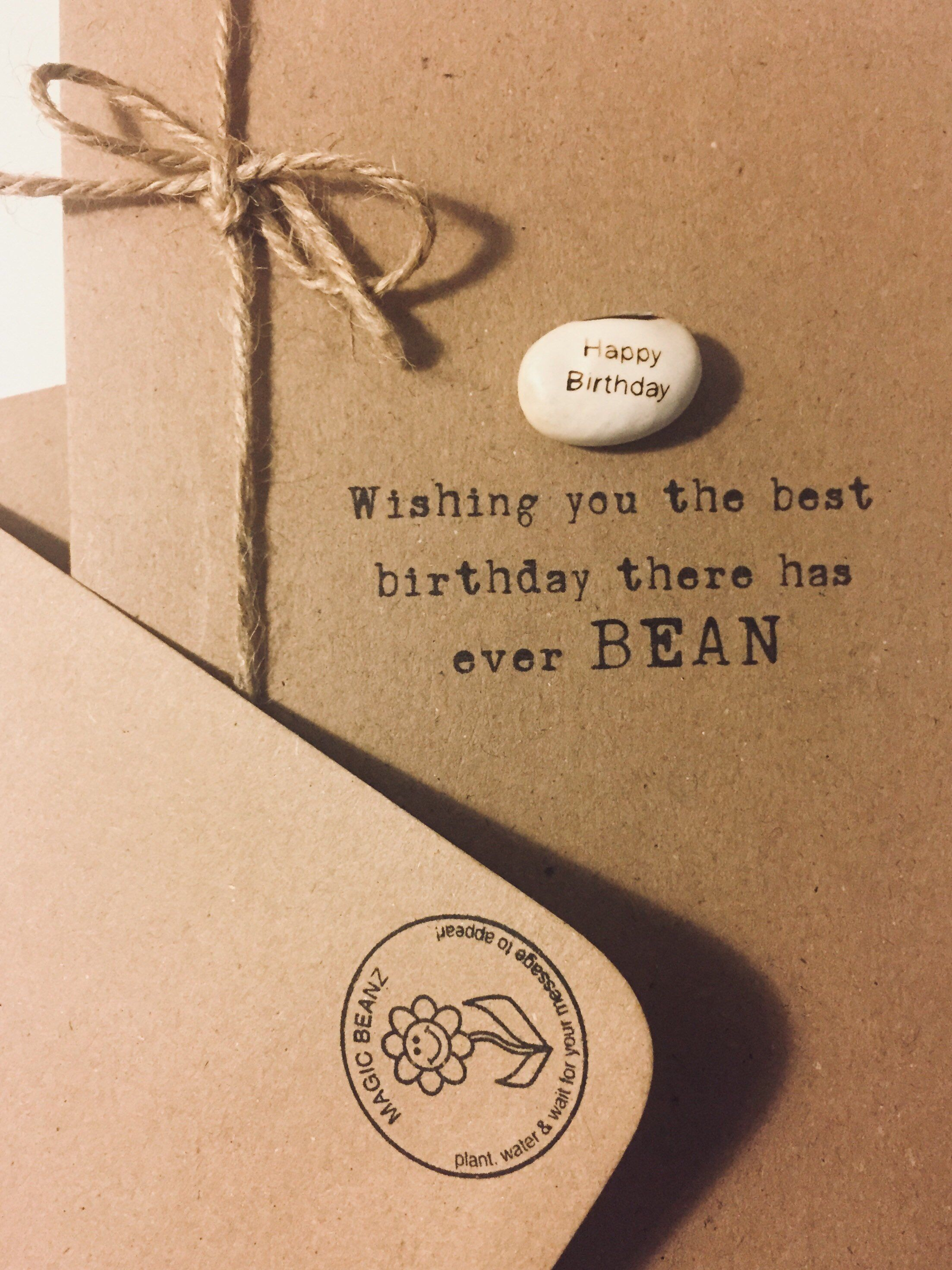 thank you card for him Thank you card handmade card thank you card for her Thank you card /'magic message bean/' rustic greetings card