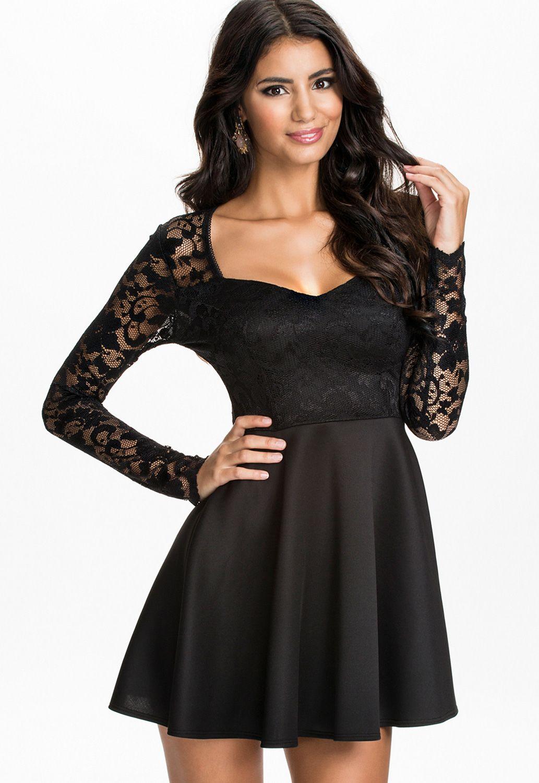 Black lace bodice skater dress little black dress pinterest
