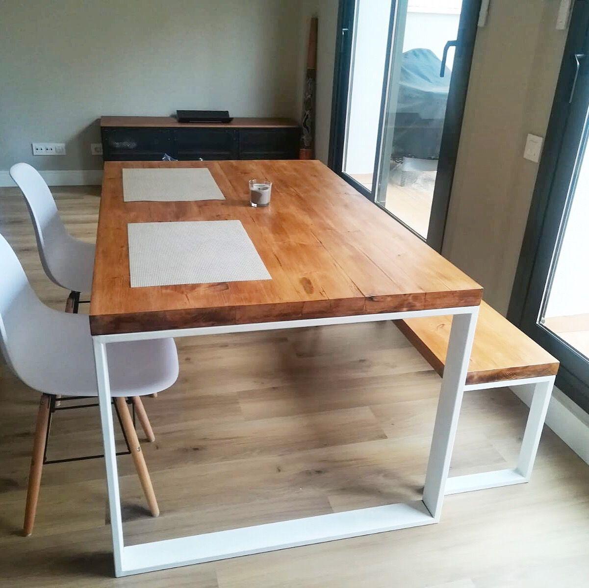Mesa Y Banco Estilo Industrial Fabricados A Medida Por El Atelier