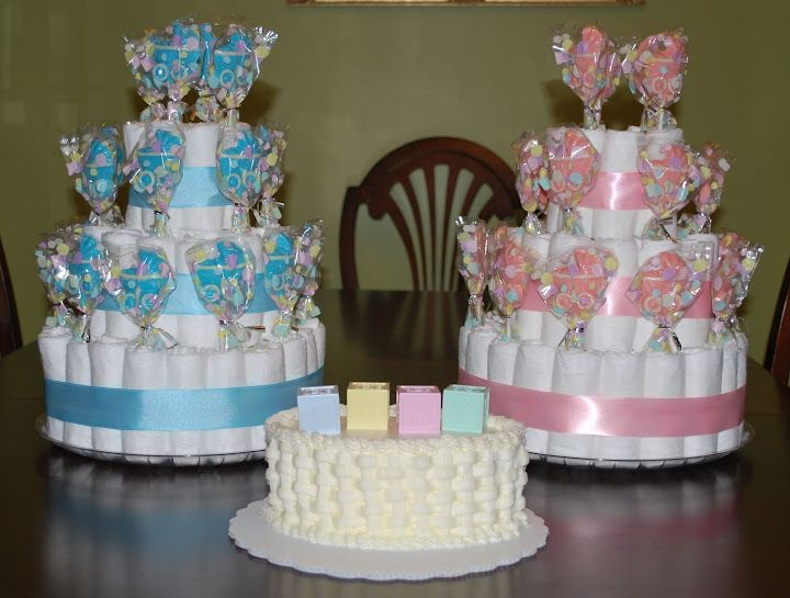 Cake Pop Centerpieces For Baby Shower : Diaper Cake with Chocolate Lollipops! # ...
