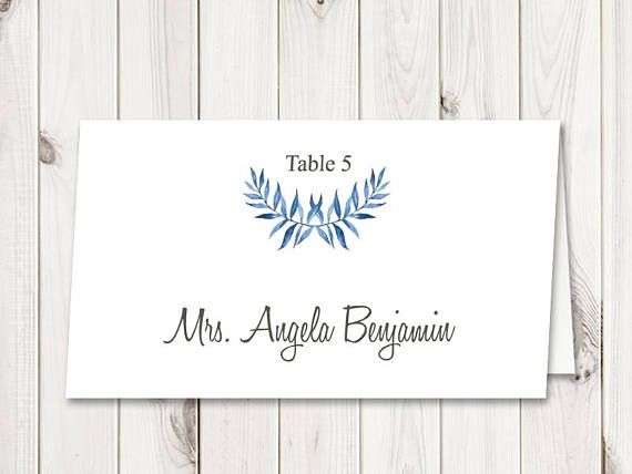 Watercolor Wedding Place Card Template \ - folded place card templates