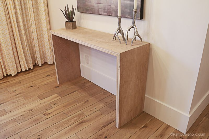 Diy Waterfall Plywood Console Table Woodworking Furniture Plans Woodworking Plans Diy Woodworking Projects Furniture