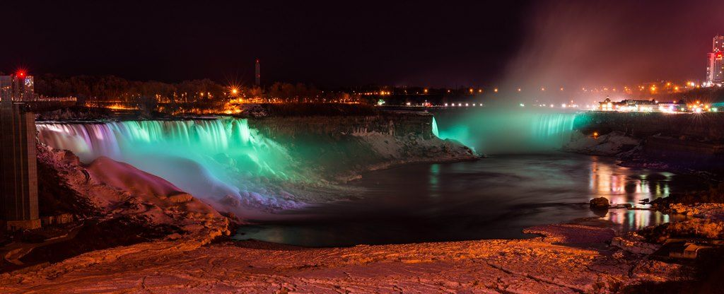 The magnificent Niagara Falls is awash of green on March