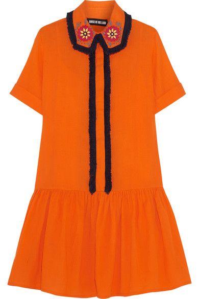 Orangefarbene Baumwolle   Teilweise verdeckte Knopfleiste vorne  100 % Baumwolle   Handwäsche