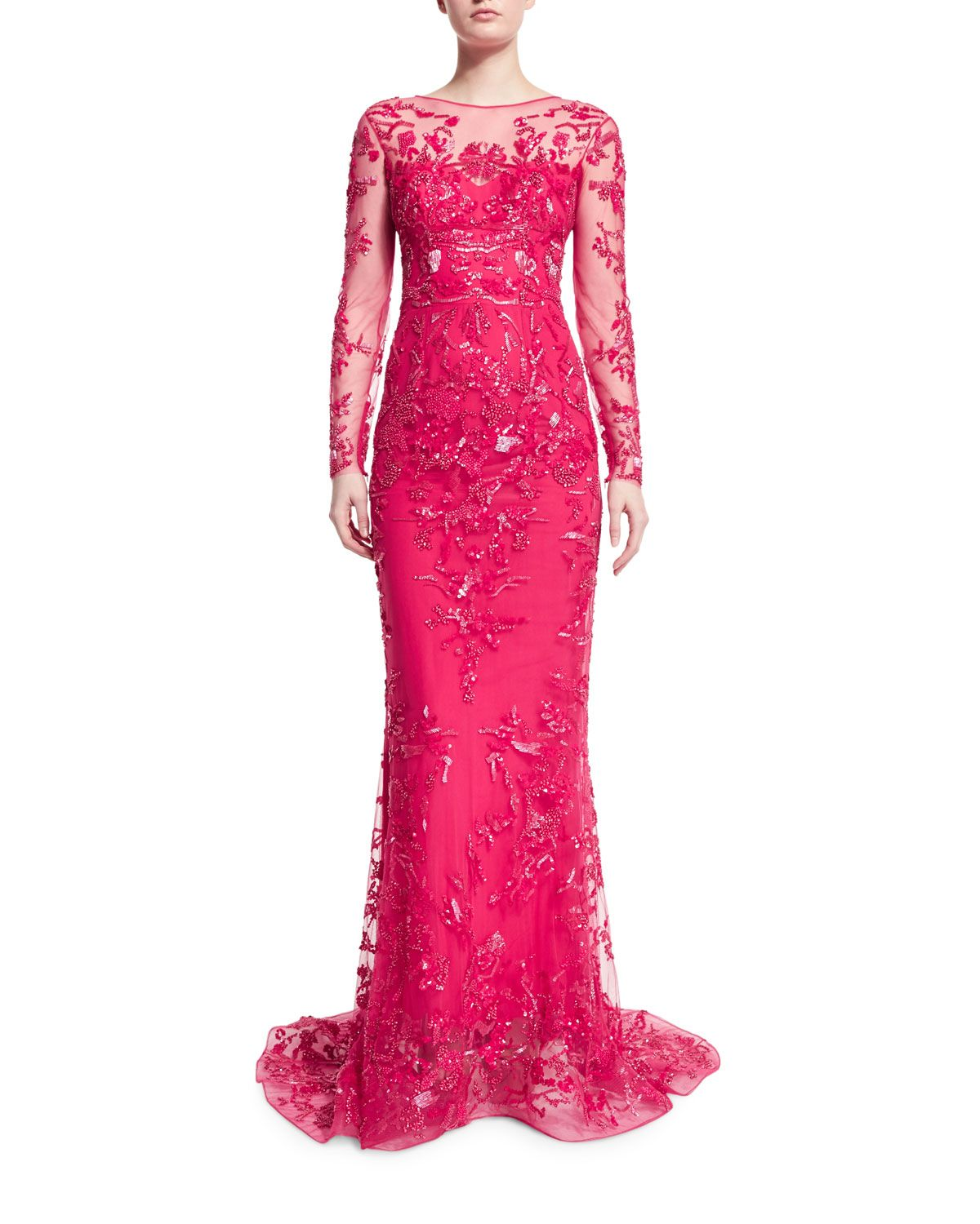 Long-Sleeve Floral-Embroidered Gown, Rose Red, Women\'s, Size: 10 ...