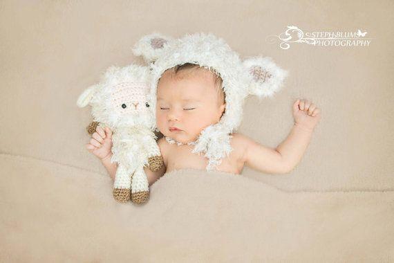 Little lamb bonnet and toy photo prop newborn photo prop newborn bonnet lamb bonnet