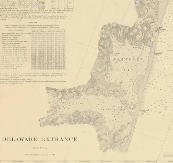 Delaware Entrance New Jersey Nautical Map Reprint - Nautical maps atlantic us