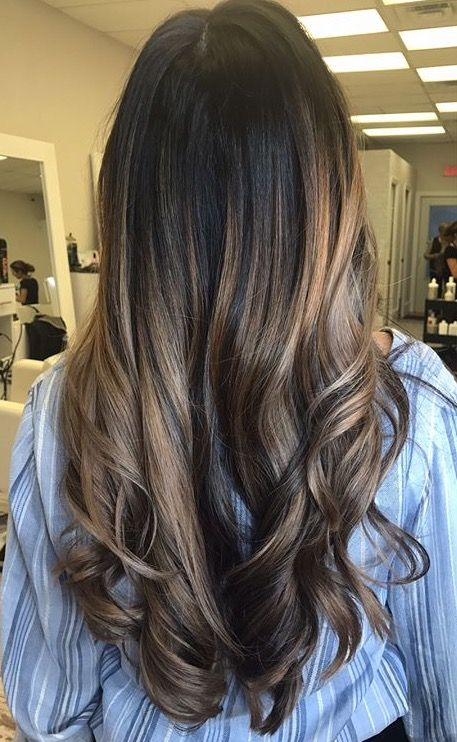 Balayage Sandy Blonde On Dark Hair Short Black Natural Hairstyles Black Hair With Highlights Blonde Hair With Bangs