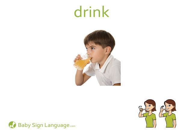 Printable Drink Baby Sign Language Flash Card Us Letter