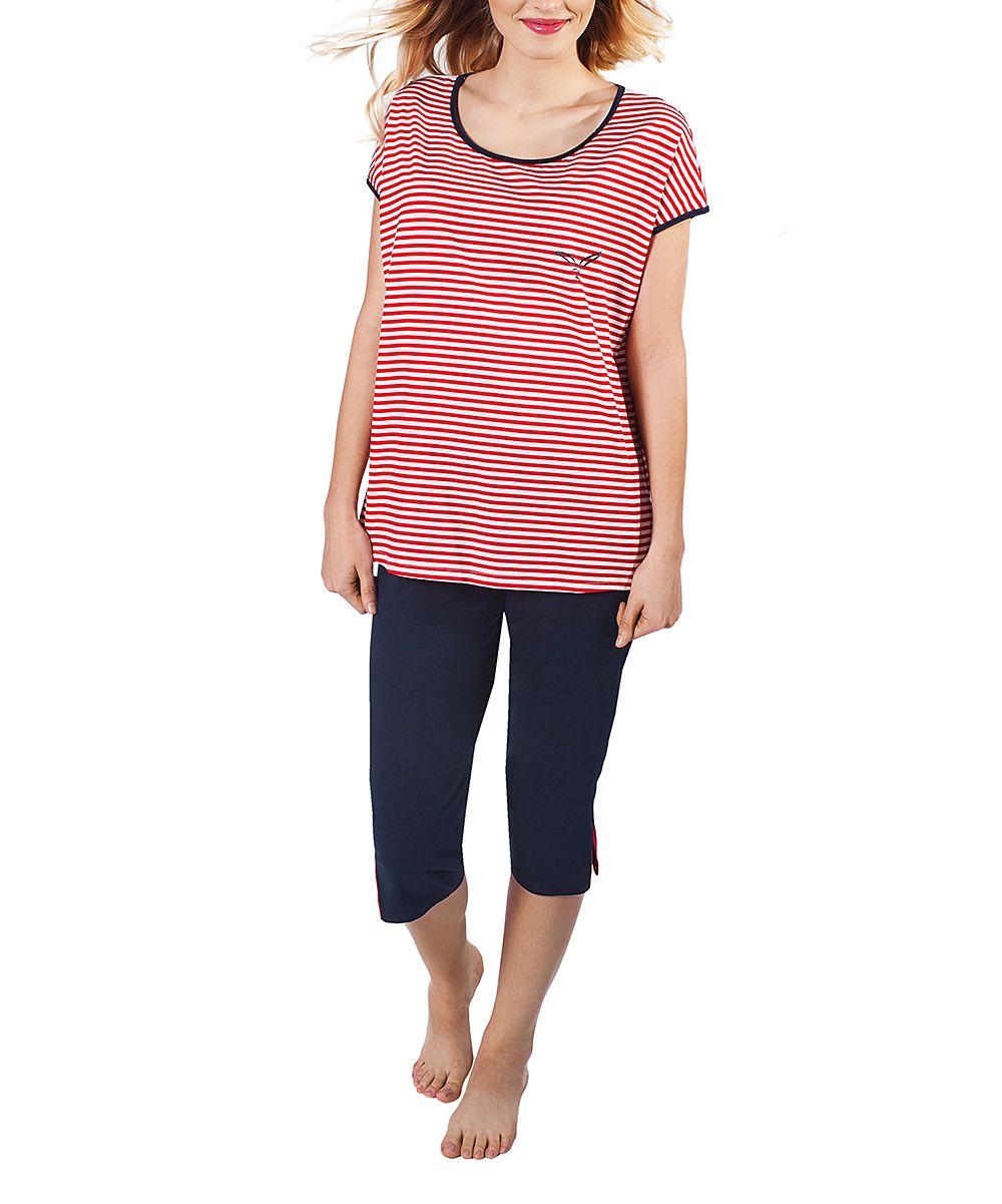 Red & White Stripe Pajama Set