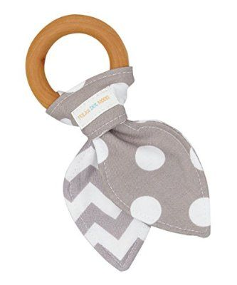 Natural Organic Maple Wooden Teething Ring Toy - Bunny Ears Teether - 100% Gray Chevron & Dots Cotton Front & Back - Great alternative to plastic teether