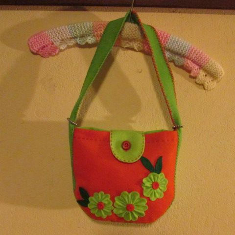 #felt handbag orange and lime#