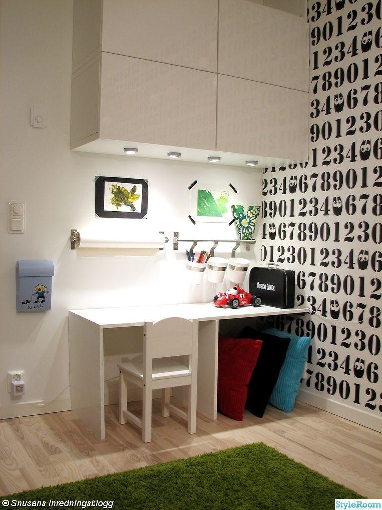 arbetshörna,barnrum,skrivbord,platsbyggt,förvaring,pysselhörna,väska,granit,ikea Kids rooms