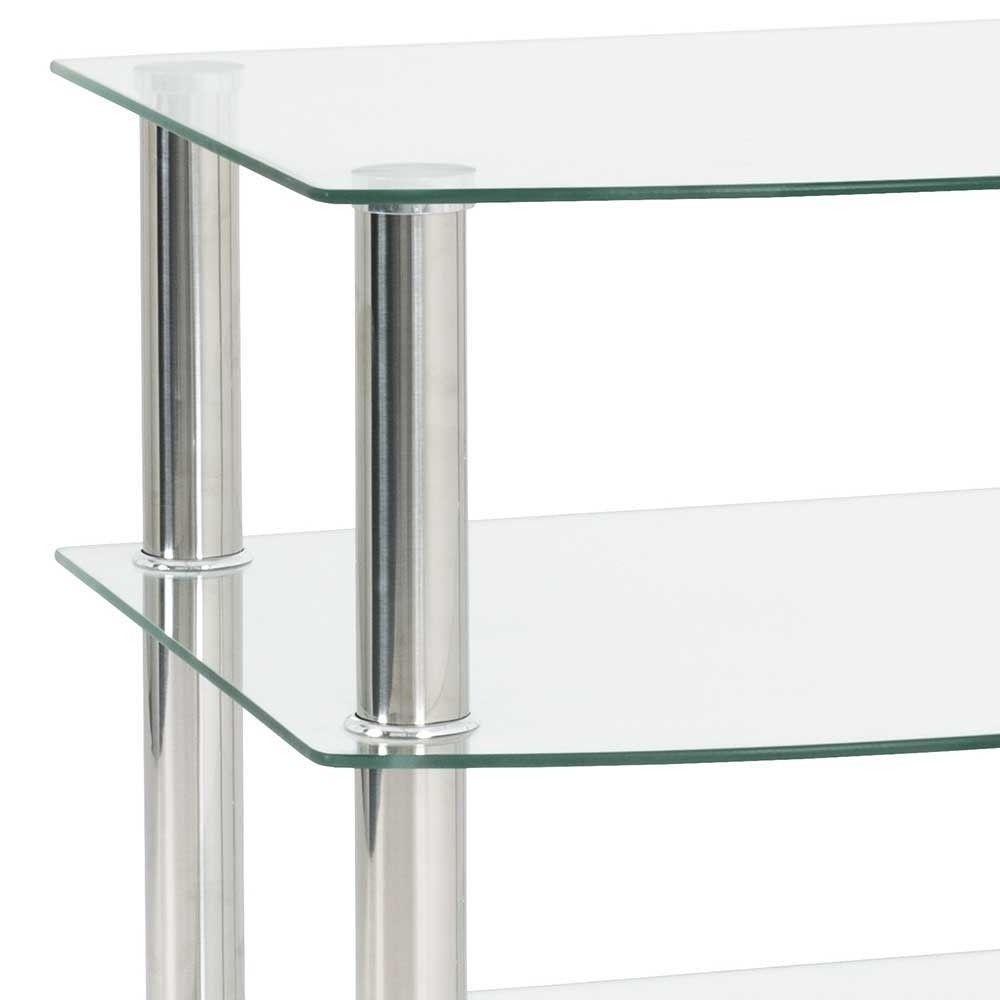 Glas Beistelltisch Mit 3 Ablagen Mit Edelstahl Navarra Di 2020