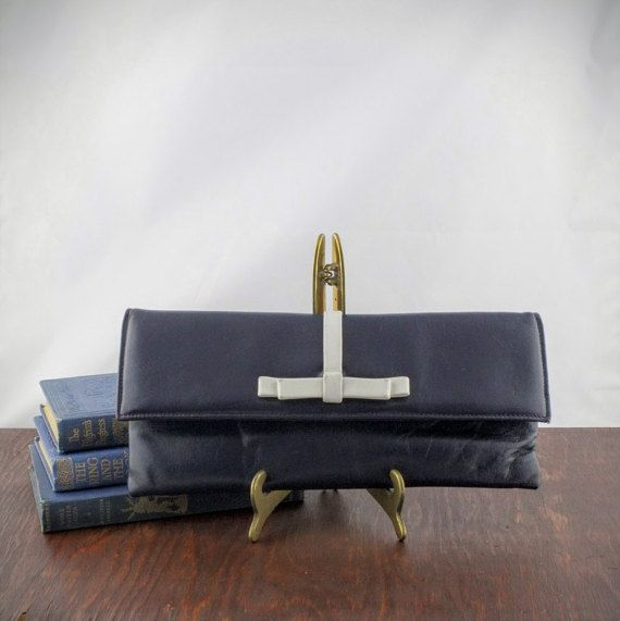 Vintage Navy Blue & White Clutch by Birks  Retro by LoAndCoVintage