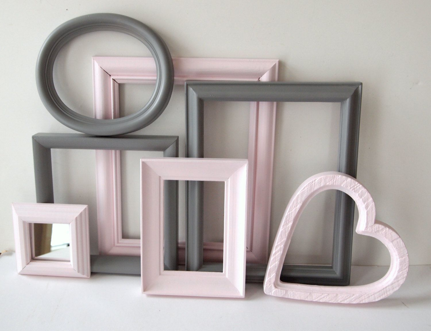 Picture frames and mirror vintage painted gray grey and pink picture frames and mirror vintage painted gray grey and pink cottage chic baby nursery child girl jeuxipadfo Choice Image