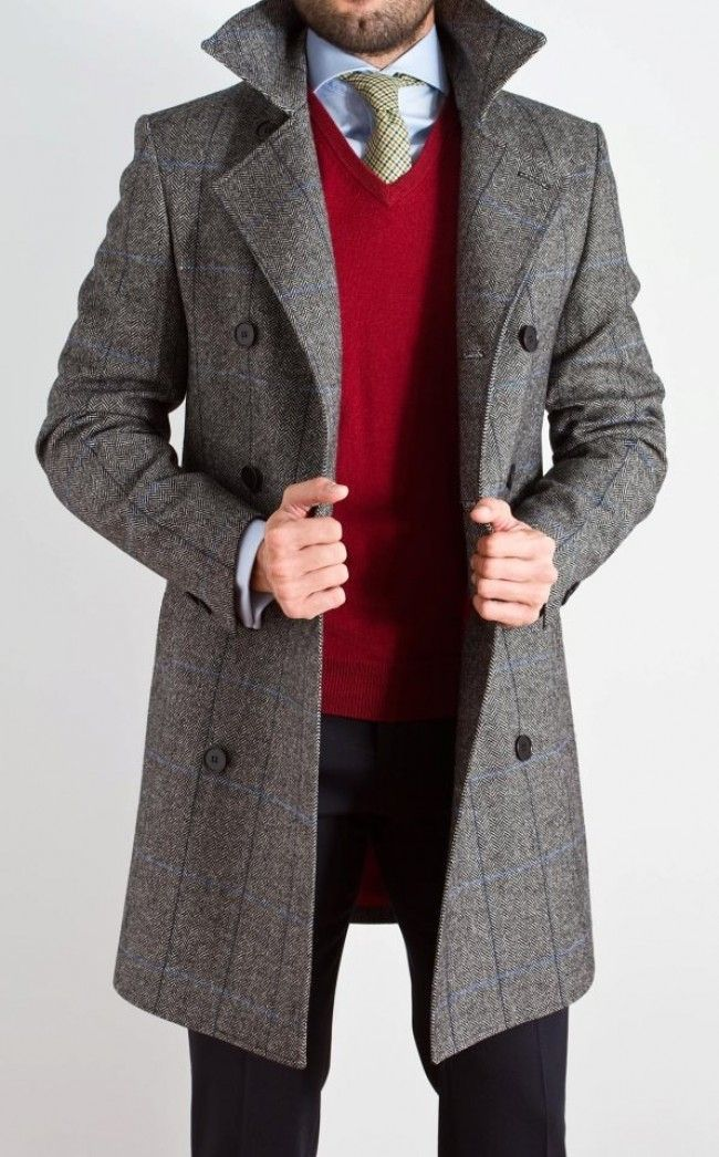GREY COAT × RED SWEATER // preppy men's fashion blog | My style ...