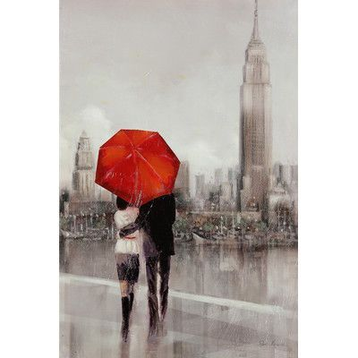 "WexfordHome ""Modern Couple in New York"" by Ruane Manning Print on Painting Size: 24"" H x 36"" W x 1.5"" D"