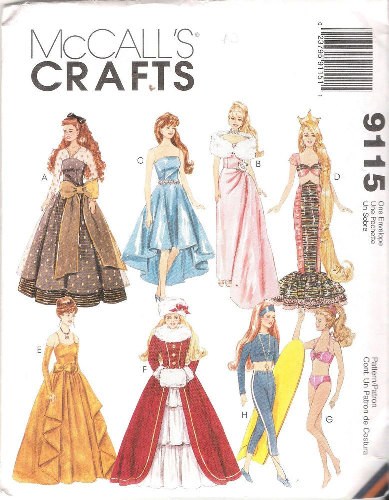 BARBIE SIZED FASHION DOLL CLOTHES SEWING PATTERN MCCALLS 9115 11.5 ...