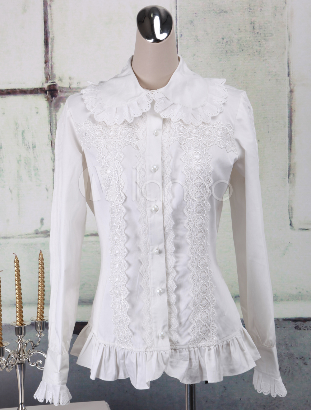 7769c165928 Lolitashow Sweet White Cotton Lolita Blouse Long Sleeves Ruffles Lace Trim  Turn-down Collar