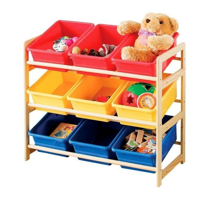 Toy Storage Unit 3 Tier Pine Frame 9 Plastic Storage Bins Childrens  Playroom In Home, Furniture U0026 DIY, Childrenu0027s Home U0026 Furniture, Furniture |  EBay