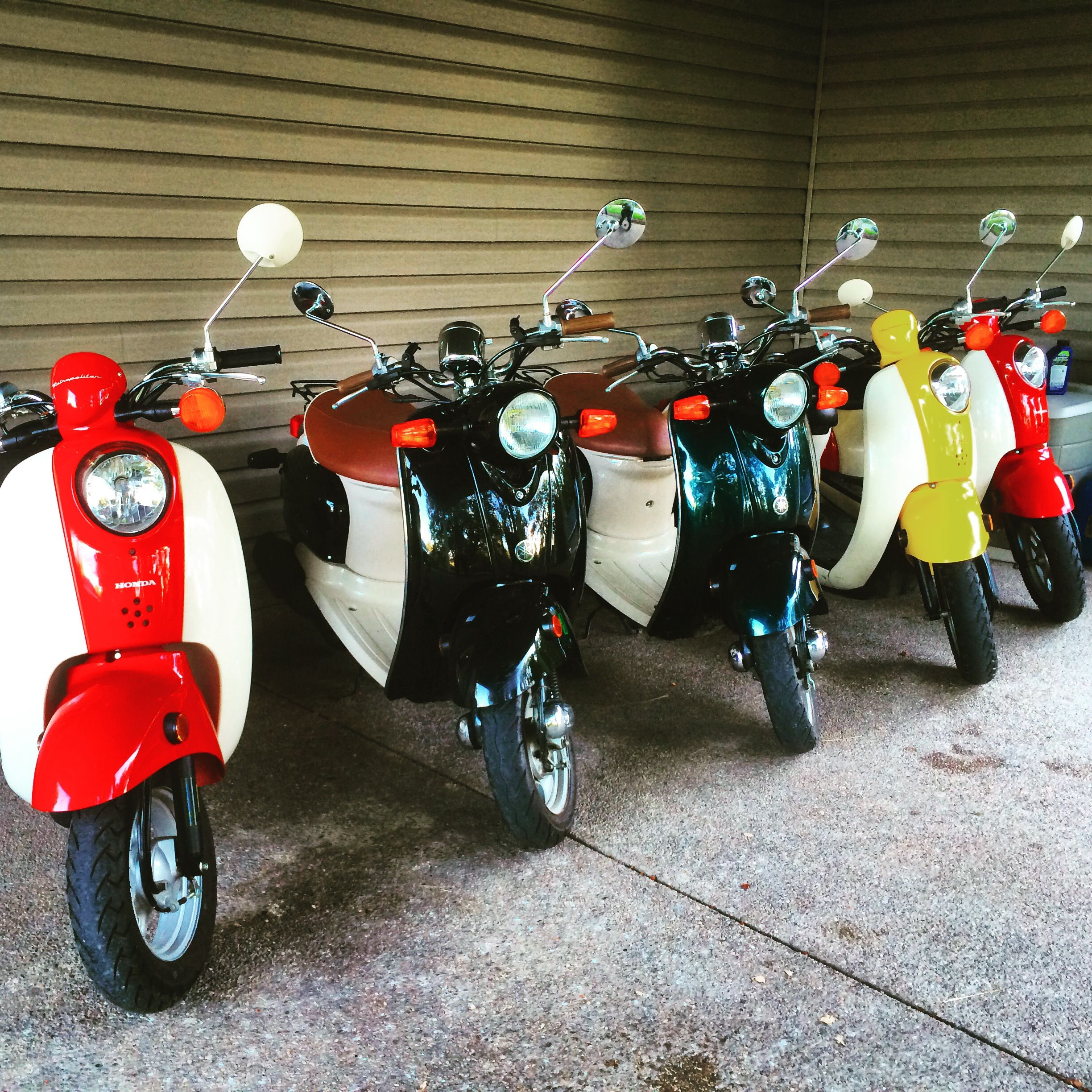 My scooter collection under my carport