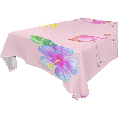 Aideess Home Decoration Tropical Flamingo Polyester Tablecloth 60 X 108  Inches, Modern Desk Sofa Table Cloth Cover For Wedding Party Decor