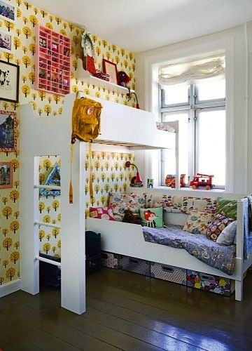 eclectic teen bedroom with loft bed