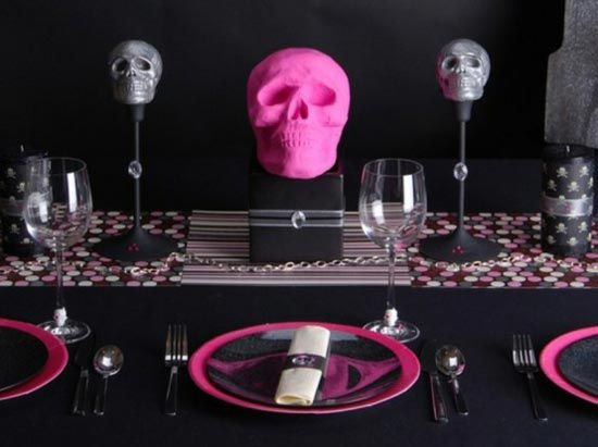 Pink & black skull dining table setting