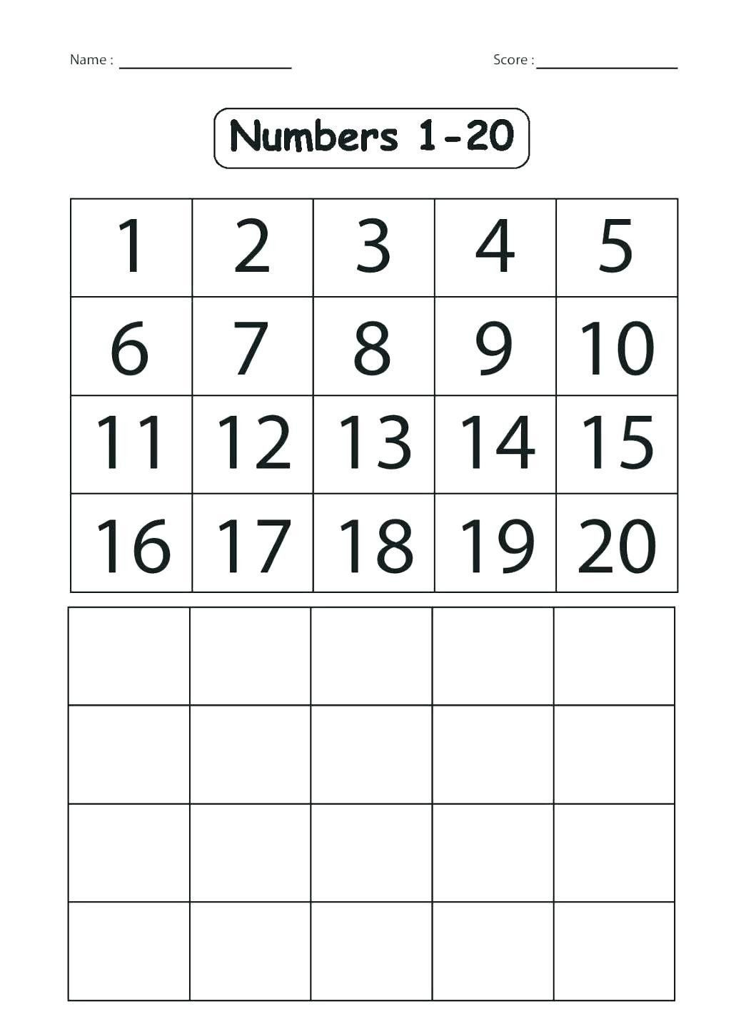 Kindergarten Number Worksheets 1 20