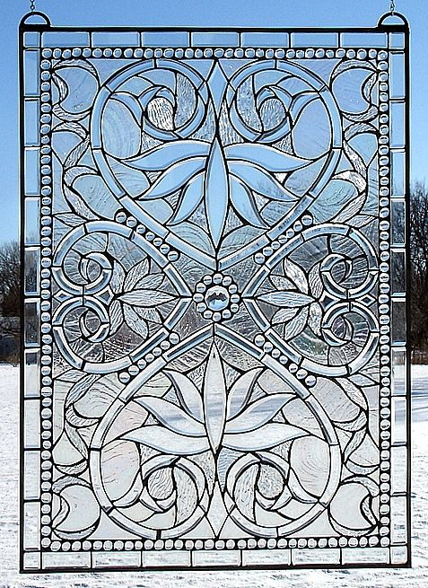 Lovely clear glass beveled stained glass panel