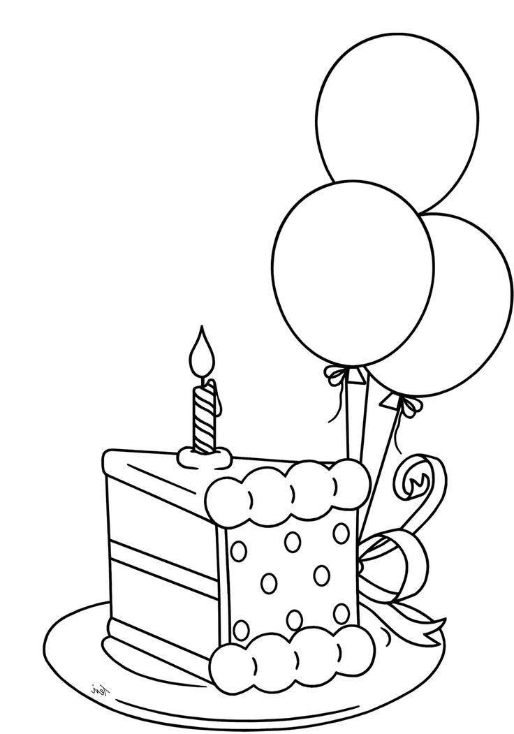Slice The Cake That Will Be Packed Birthday Coloring Pages Buku