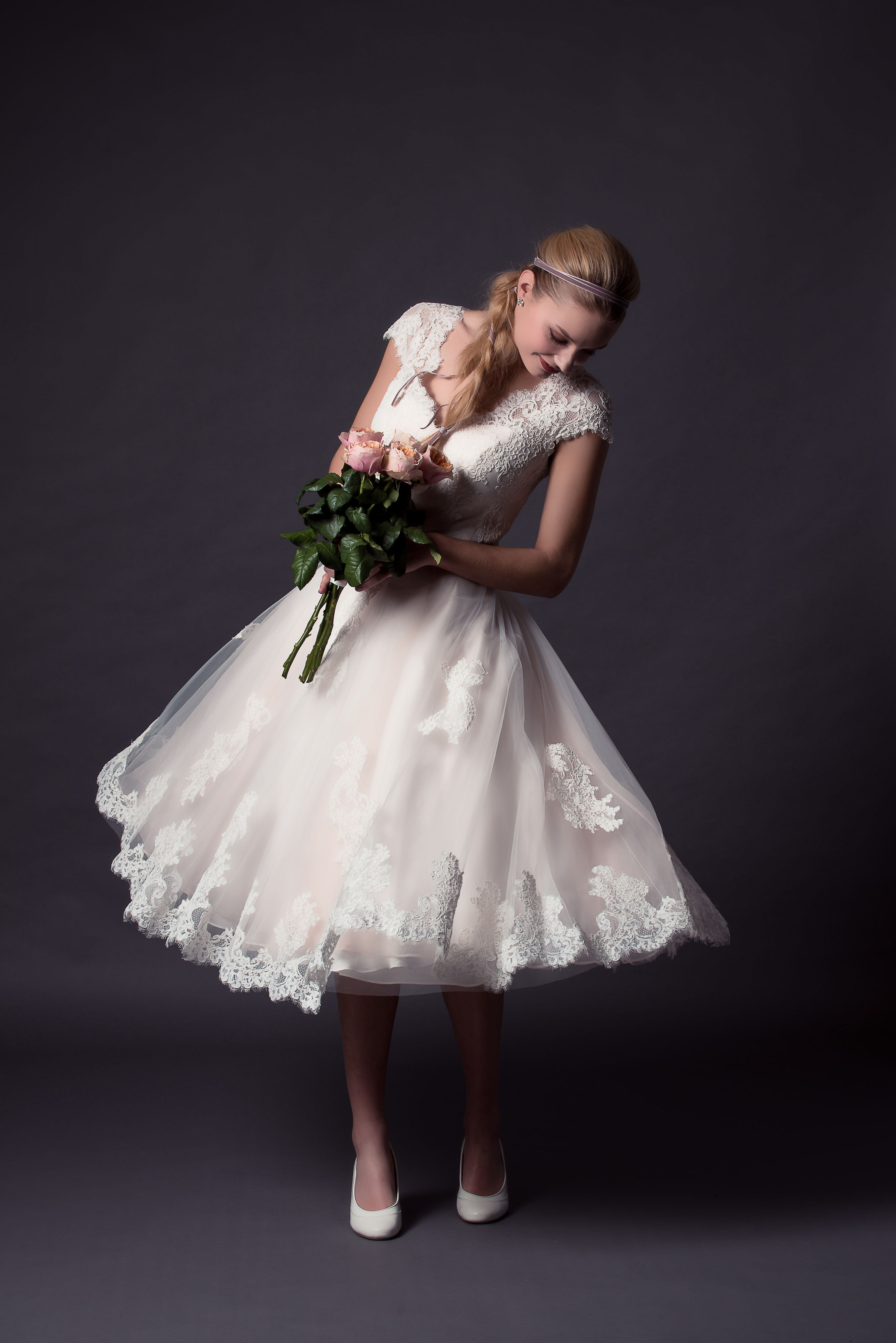 Taylor, vintage gown with button back and soft tulle and