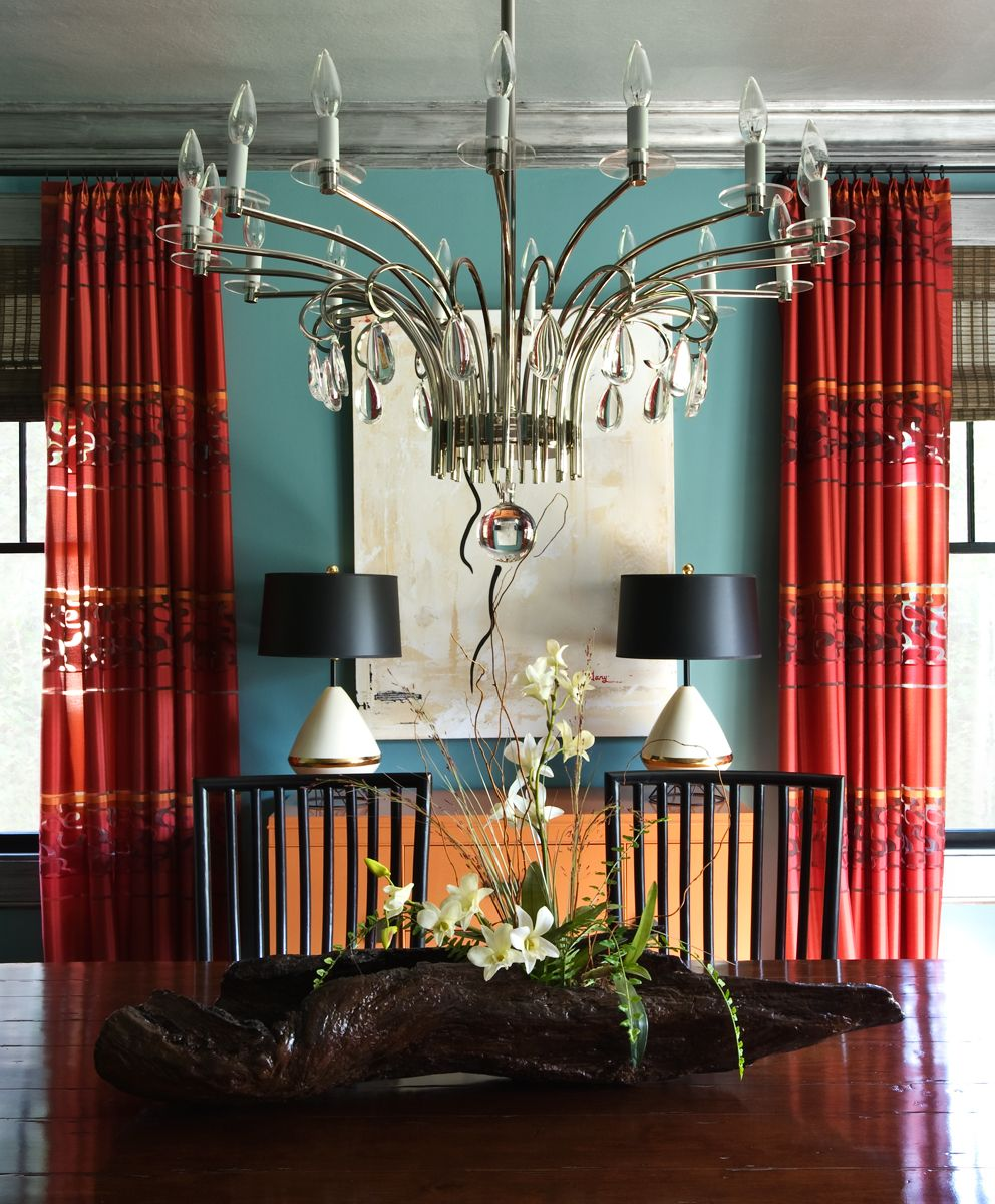 Blue With Red Accent Dining Room Wall And Curtains Mixed Wood Tones