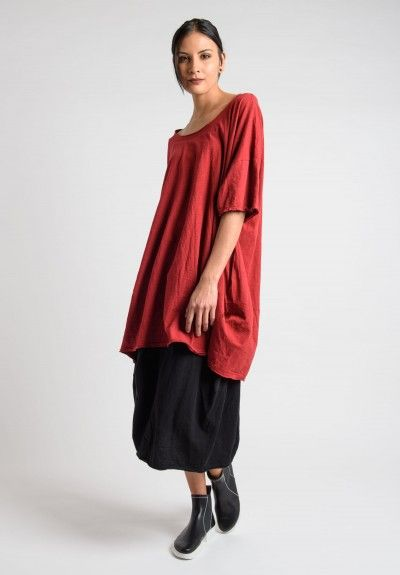 Rundholz Black Label Cotton Oversized Short Sleeve Tunic with Pockets in Strawberry