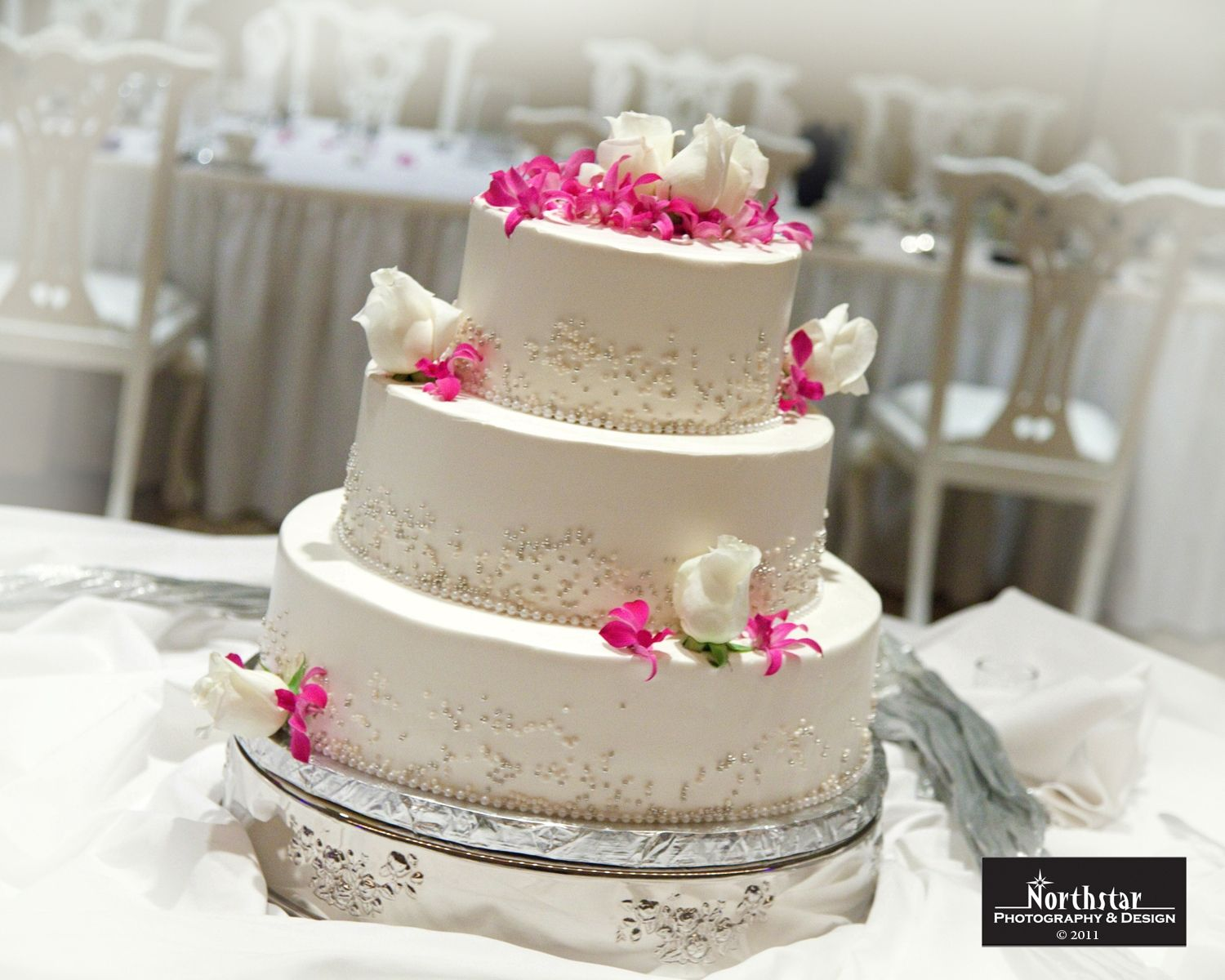 """Our beautiful 18"""" Silver Cake Stand available for rent. Northstar Photography."""