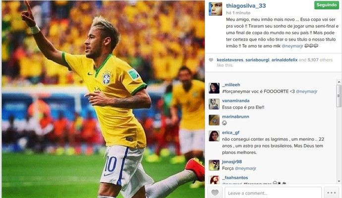 Thiago Silva envia mensagem para Neymar e diz que Copa será para ele (Foto: Reprodução/Instagram)