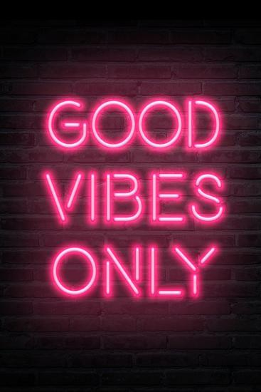 'Good Vibes Only - Pink Neon' Art Print - | Art.com