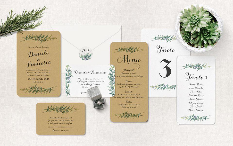 Rosemary wedding invitation , partecipazione matrimonio a tema piante  aromatiche