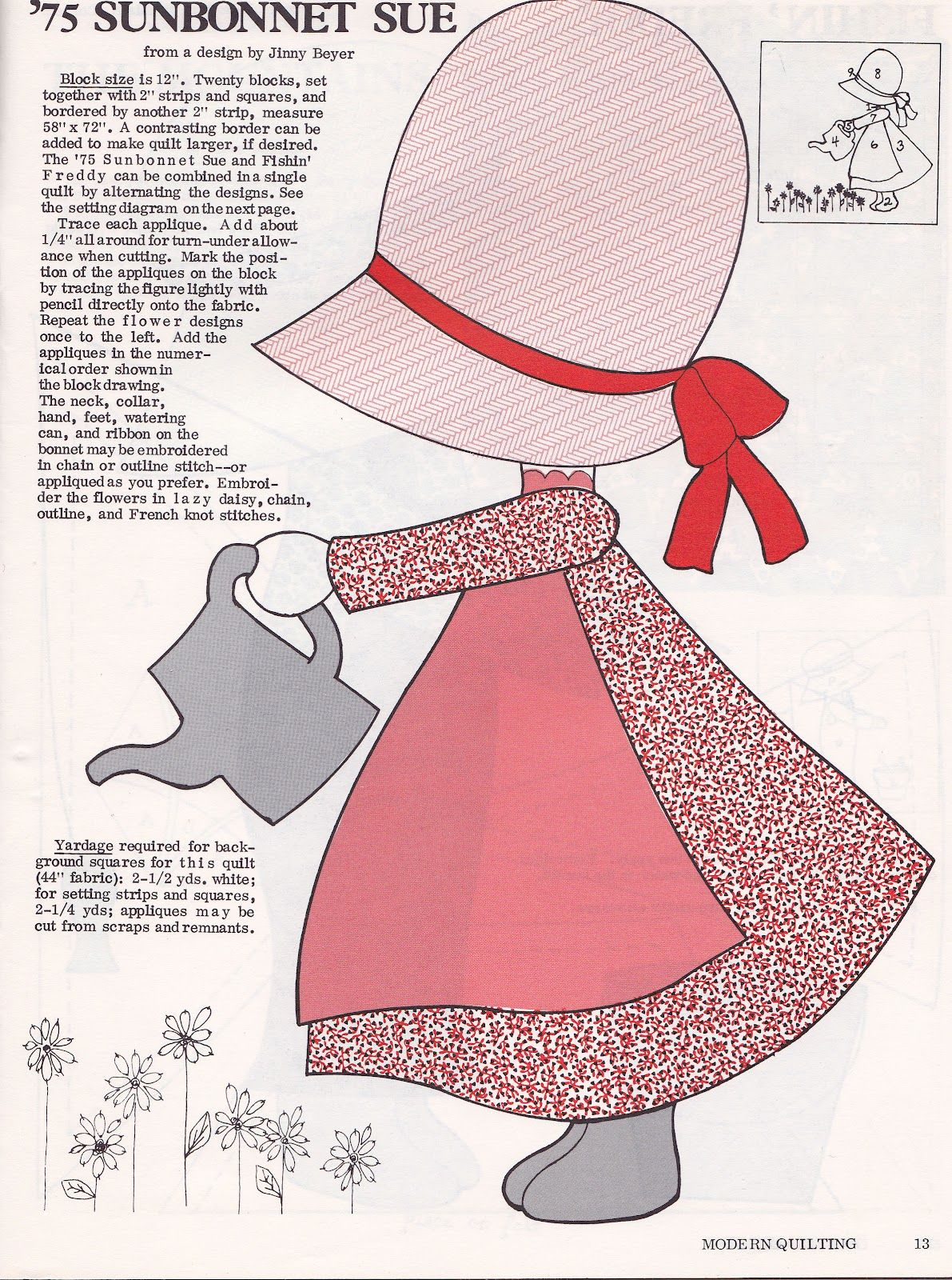 Free Sewing Sunbonnet Sue Pattern Applique Patterns Or