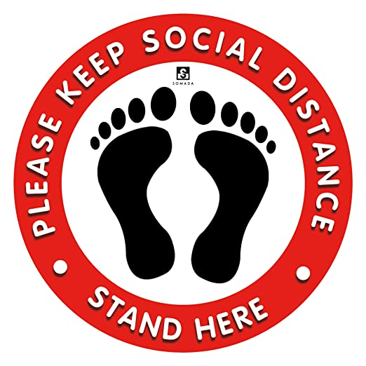 "Keep 6 Feet Distance Vinyl 12/"" 5 Social Distancing Floor Carpet Sign Stickers"