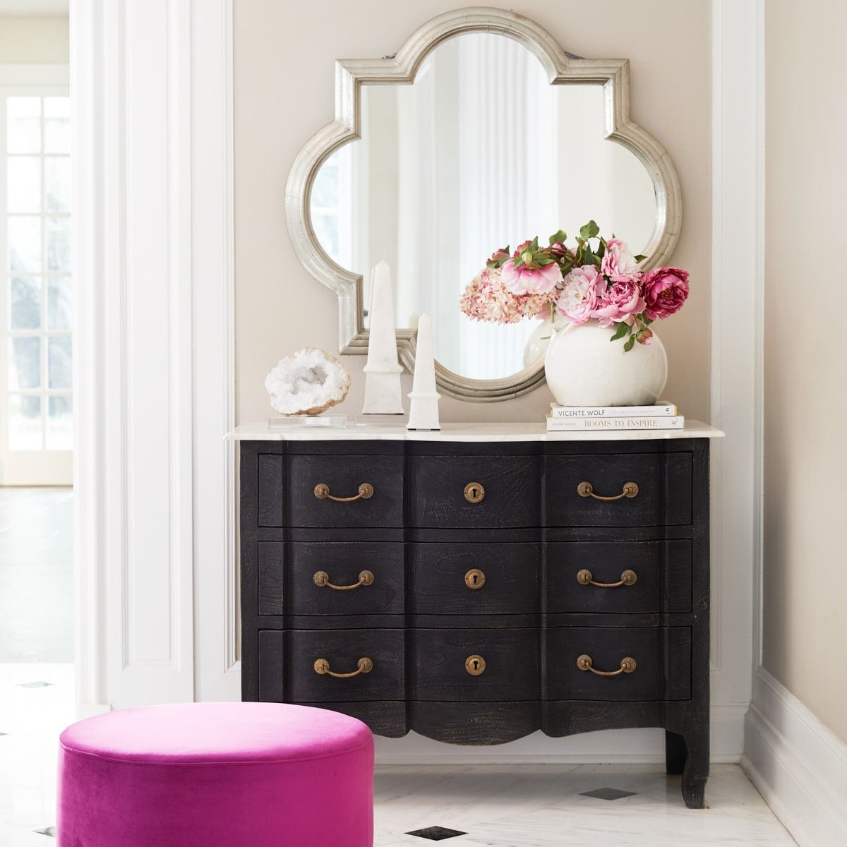 Serpentine Chest with Marble Top Marble top dresser