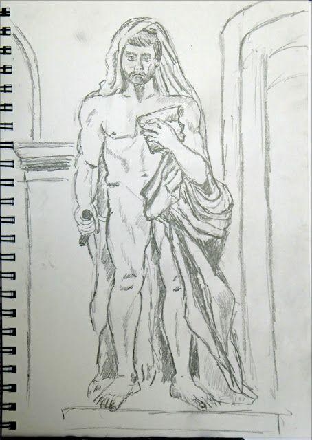 art de vivre la peinture de peintrefiguratif : Croquis au crayon au musée du Louvre